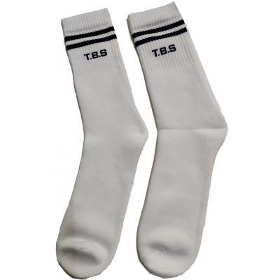 GOL Brigade Plain White Socks with 2 Navy Blue Rings & T.B.S Logo (Pack Of 3)
