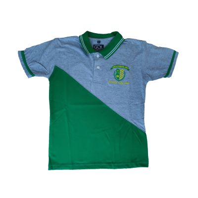 GCIS House Color T-Shirt (I To XII) - Grey & Green (Size 30 To 36)