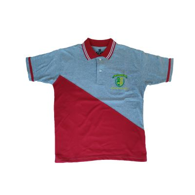 GCIS House Color T-Shirt (I To XII) - Grey & Red (Size 38 To 48)