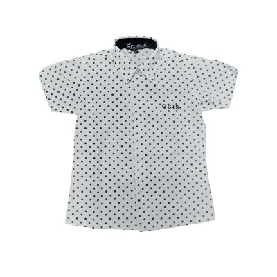 GCIS Formal Girls Shirt (I To XII) - White With Polka Dot (Size 38 To 44)