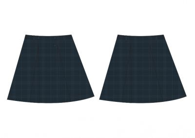 Sri Kumaran Formal Regular Skirt ICSE - Grey Checks - XL (Size 22*34 To 22*38)